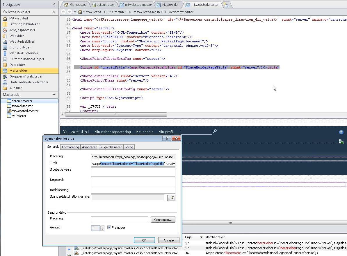 Når du åbner mastersiden for Mit websted, kan du redigere filen og dens egenskaber.