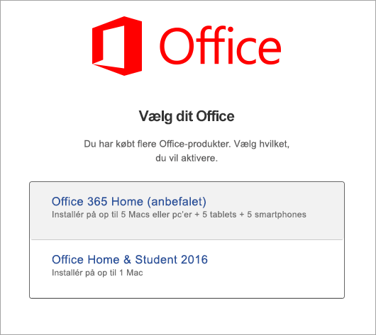 Vælg licenstype for Office 2016 til Mac