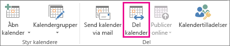 Knappen Del kalender under fanen Hjem i Outlook 2013