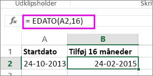 brug EDATO-formelen til at tilføje måneder til en dato