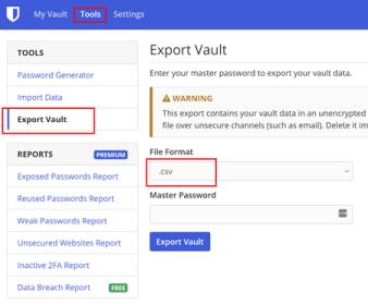 Placering af Bitwarden Export vault