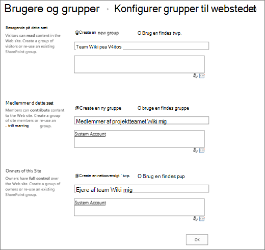 Dialogboksen Konfigurer grupper for websted