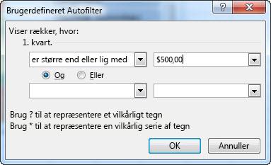 Dialogboksen Brugerdefineret autofilter
