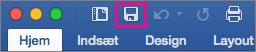 Ikonet Gem fremhæves på båndet i Word 2016 til Mac.