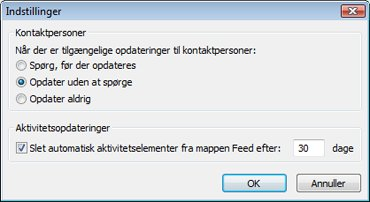Dialogboksen Indstillinger for Outlook Social Connector