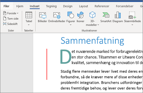 Billeder, SmartArt, Diagrammer i Office 365 Word