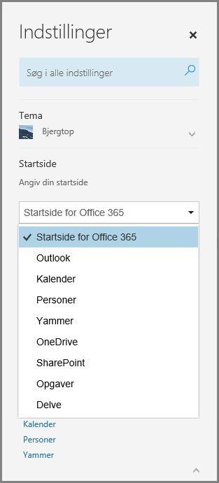 Skift Office 365-startside