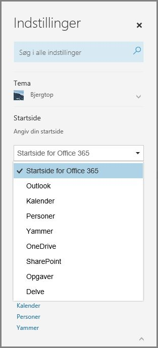 Ændre din Office 365-startside