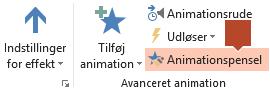 Animationspenslen findes på båndet til Animationsværktøjslinjen, når du markerer noget, der er animeret, på en slide