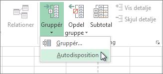 Klik på pilen under Gruppe, og klik derefter på Autodisposition