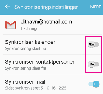 Synkronisering aktiveret