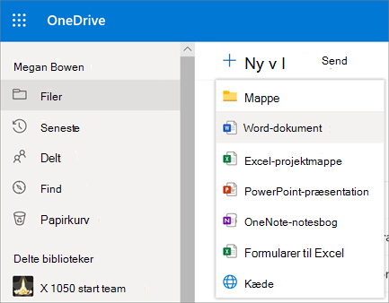 Menuen Ny fil eller mappe i OneDrive for Business