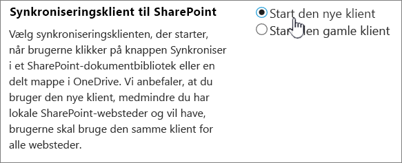 Administratorindstillinger for OneDrive-synkroniseringsklient