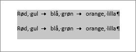 Tekst, der skal konverteres til en tabel