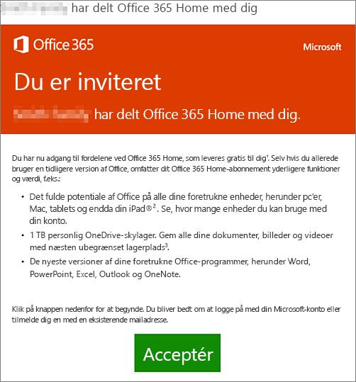Mail, der annoncerer, at en anden person har delt Office 365 Home med dig