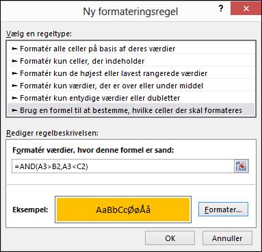 Betinget formatering > Rediger regel-dialogboks, der viser metoden Formel