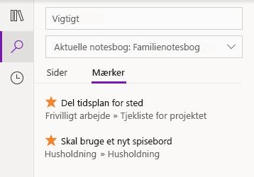 Mærkning af søgeresultater i OneNote til Windows 10