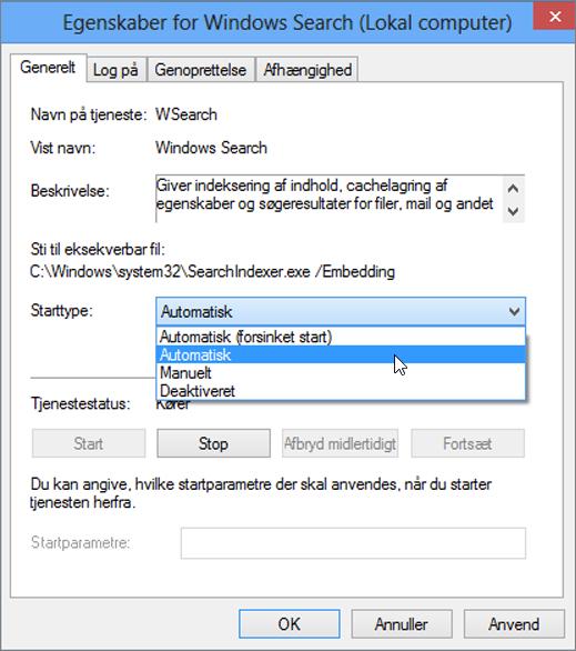 Skærmbillede af dialogboksen Egenskaber for Windows Search viser den indstilling, automatisk markeret for starttype.