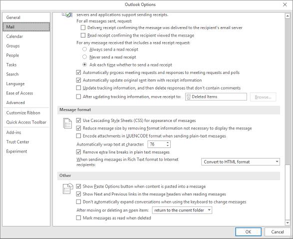 Siden Indstillinger for Outlook med mail kategori fremhævet