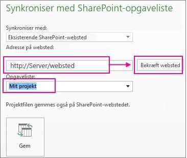 Gemme projekt i SharePoint