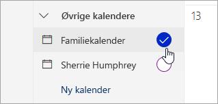 Et skærmbillede af familie kalender i venstre rude