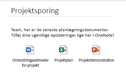 Integrerede filer på en side i OneNote til Windows 10