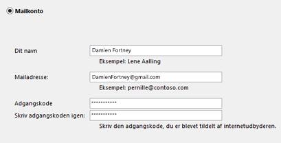Angiv din mailadresse og adgangskode
