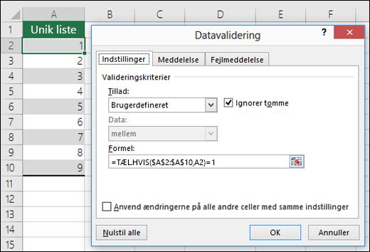 Eksempel 4: Formler i datavalidering