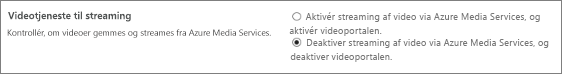Indstillingen Deaktiver Office 365 Video i SharePoint Online Administration