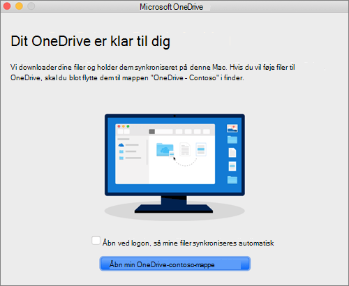 Sidste skærmbillede i guiden Velkommen til OneDrive på en Mac