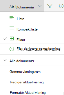Office 365 Skift visning for dokumentbibliotek