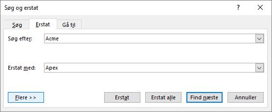 I Outlook, dialogboksen Søg og erstat.