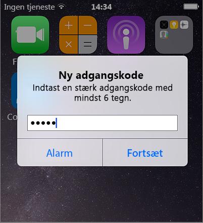 Oprette mobiladgangskode iPhone