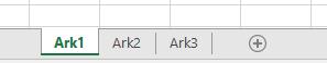 Faner i Excel-regneark vist nederst i Excel-ruden