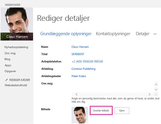 Skærmbillede af Skift billede i SharePoint, hvor knappen Overfør billede er fremhævet