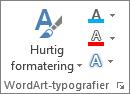 Grupper med WordArt-typografier viser kun ikoner
