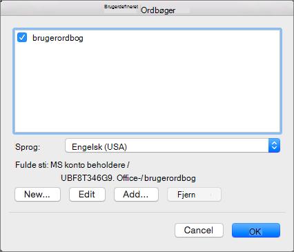 I dialogboksen Brugerordbøger kan du tilføje, redigere og vælge brugerordbøger til brug i stavekontrol.