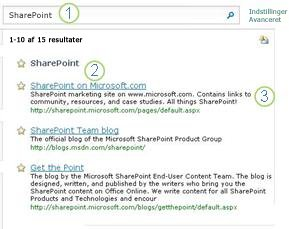 De tre guldkorn til SharePoint Server vises øverst på siden med søgeresultater