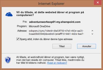 Skærmbillede af dialogboksen i Internet Explorer, der beder om tilladelse til at åbne Microsoft OneDrive