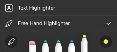 Indstillinger for overstregningstusch i OneDrive for iOS-markering