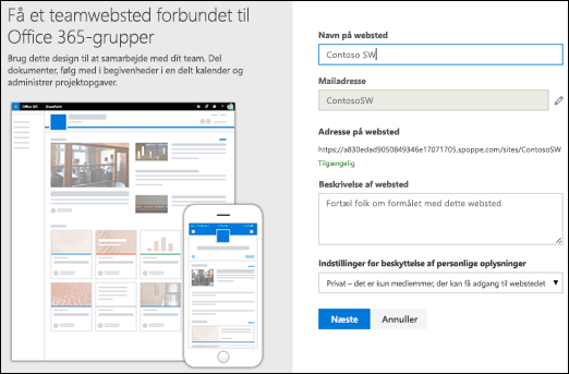 Nyt SharePoint-teamwebsted
