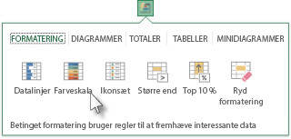 Fanen Formatering i galleriet Hurtig analyse