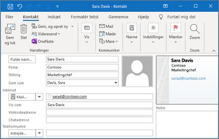 Tilføj en kontakt i Outlook