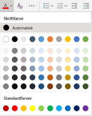 Menuen til valg af skriftfarve i Word online
