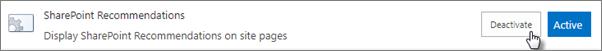 Funktionen Aktivér anbefalinger på et websted