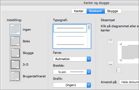 Vælg typografi, farve og bredde til sidekanten