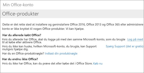 Side, der vises, hvis du er logget ind på Min Office-konto med den forkerte mailadresse og adgangskode