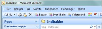Sådan ser båndet ud i Outlook 2007