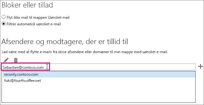 Tilføj en afsender, der er tillid til, i Outlook Web App
