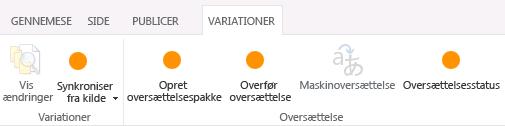Skærmbillede af fanen Variationer fra destinationswebstedet. Fanen indeholder to grupper, variation og oversættelse